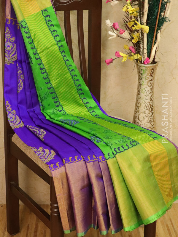 Pure Uppada silk saree blue and green with floral prints and long zari border
