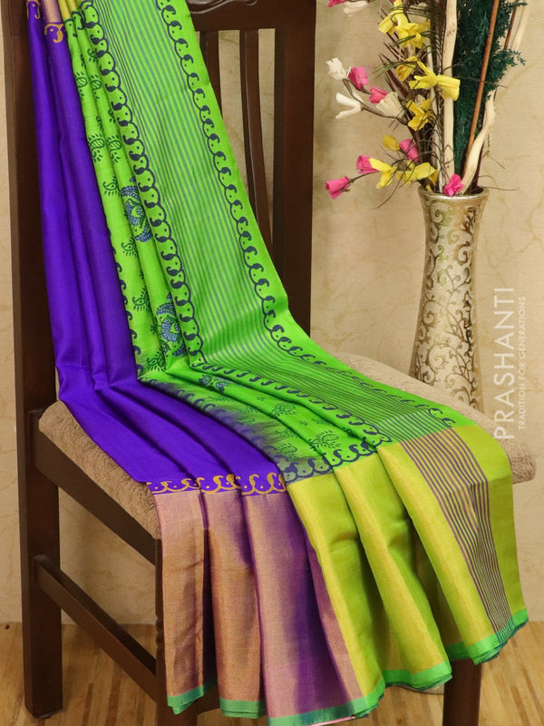 Pure Uppada silk saree violet and green with paisley prints and long zari border