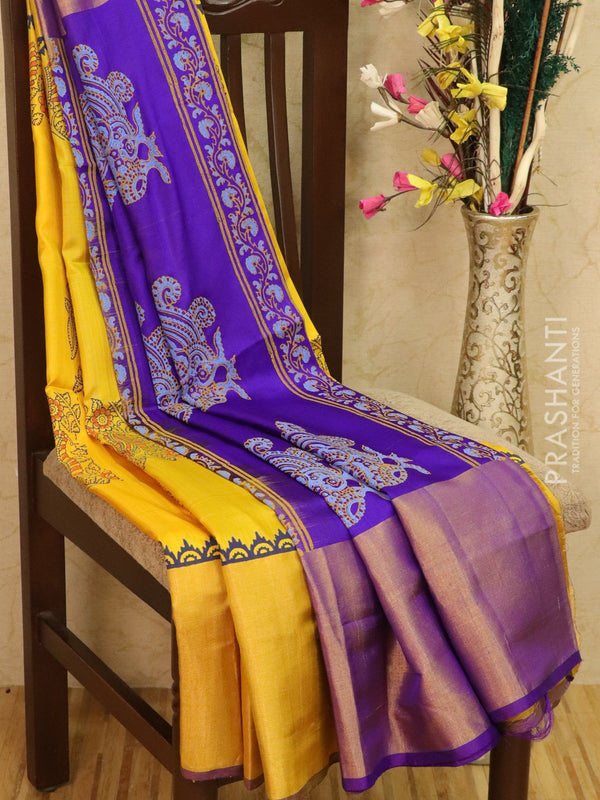 Pure Uppada silk saree yellow and violet with peacock prints and long zari border