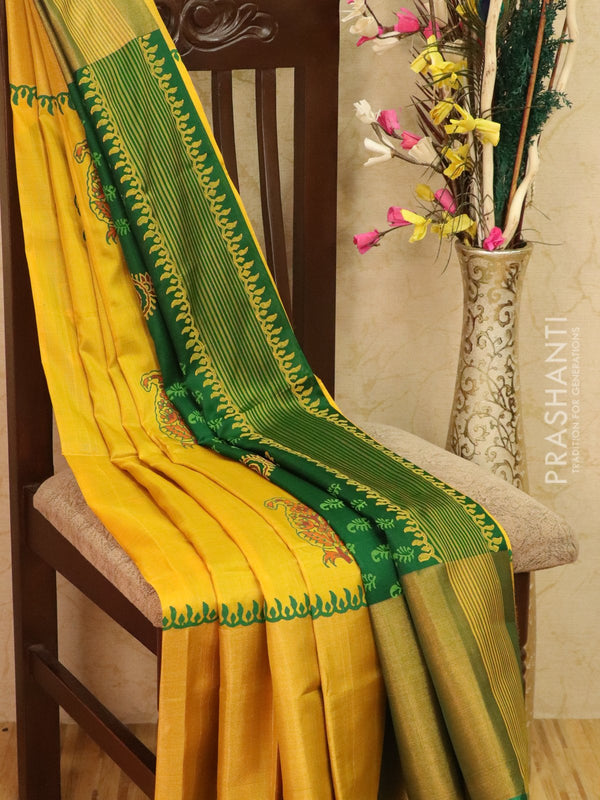 Pure Uppada silk saree lime yellow and green with paisley prints and long zari border