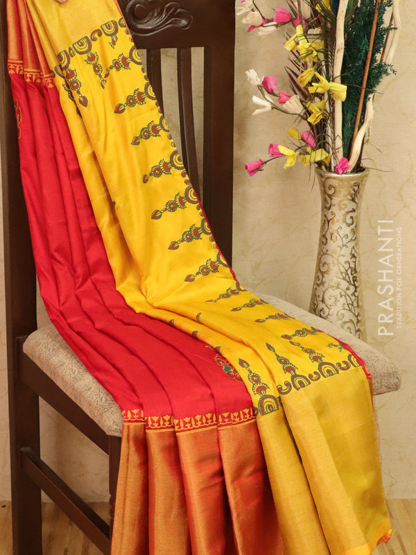 Pure Uppada silk saree red and mustard with floral prints and long zari border