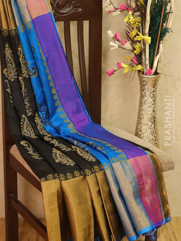 Pure Uppada silk saree black and cs blue with paisley prints and long zari border
