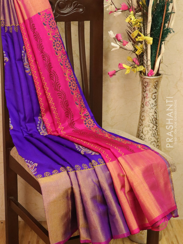 Pure Uppada silk saree violet and magenta pink with paisley prints and long zari border