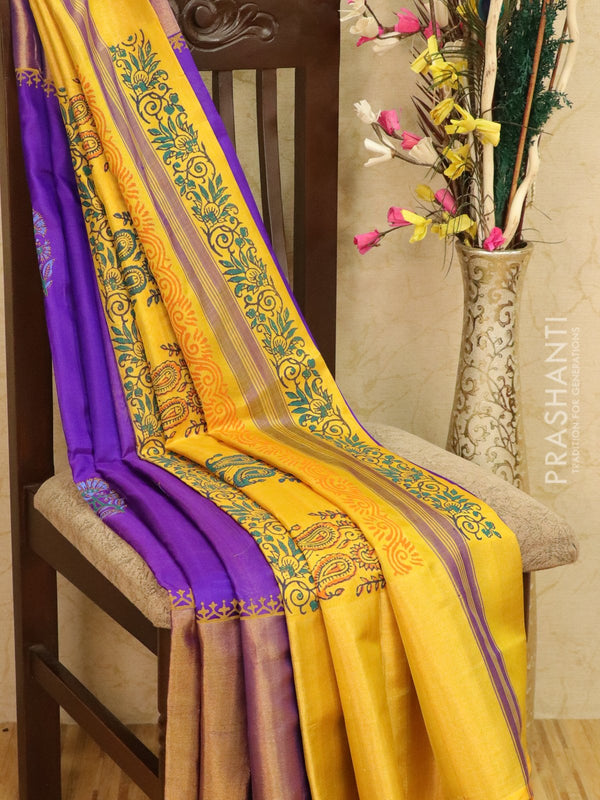 Pure Uppada silk saree violet and mustard yellow with floral prints and long zari border