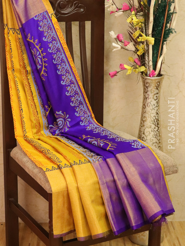 Pure Uppada silk saree yellow and violet with allover prints and long zari border