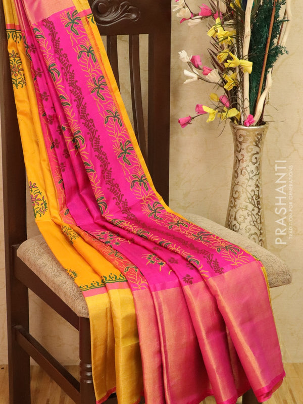 Pure Uppada silk saree yellow and pink with floral prints and long zari border