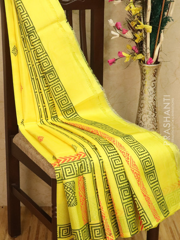 Pure Uppada silk saree yellow with geometric prints in zariless style