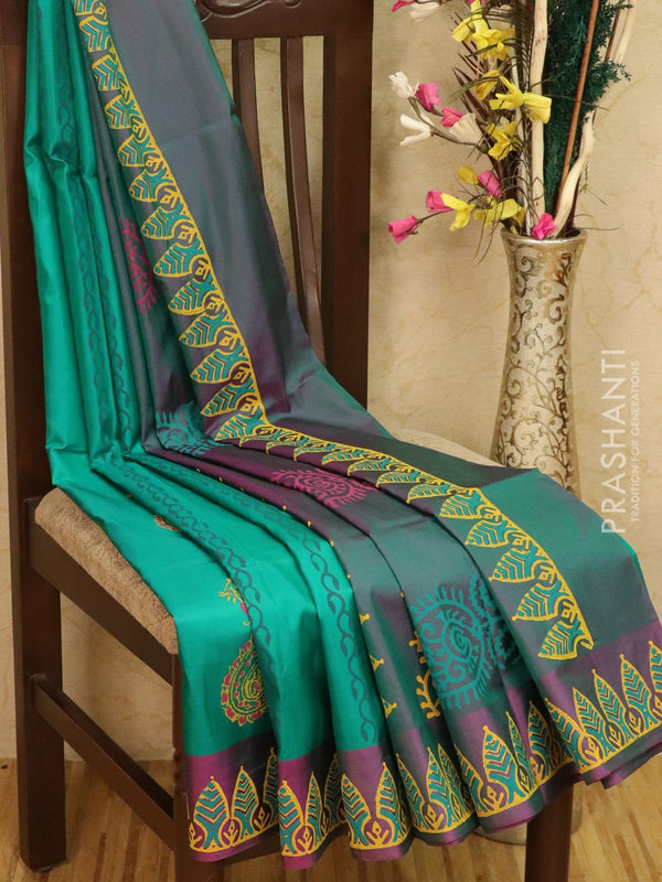 Pure Uppada silk saree green and dual shade of purple with paisley prints in zariless style