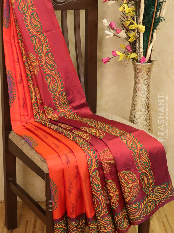 Pure Uppada silk saree orange and magenta shade with paisley prints in zariless style