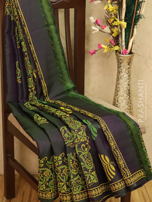 Pure Uppada silk saree dual shade of purple and green with floral prints in zariless style