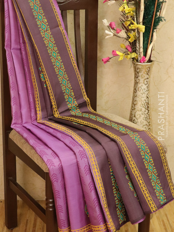 Pure Uppada silk saree lavander and rosy brown with allover prints in zariless style