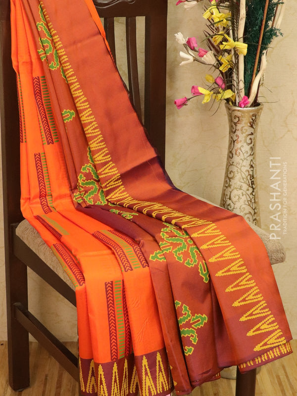 Pure Uppada silk saree orange and rust with geometric prints in zariless style