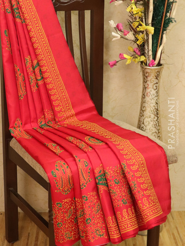 Pure Uppada silk saree red with allover prints in zariless style