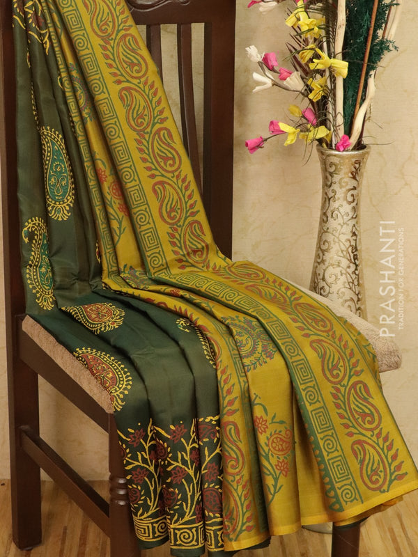 Pure Uppada silk saree bottle green and lime green with allover prints in zariless style