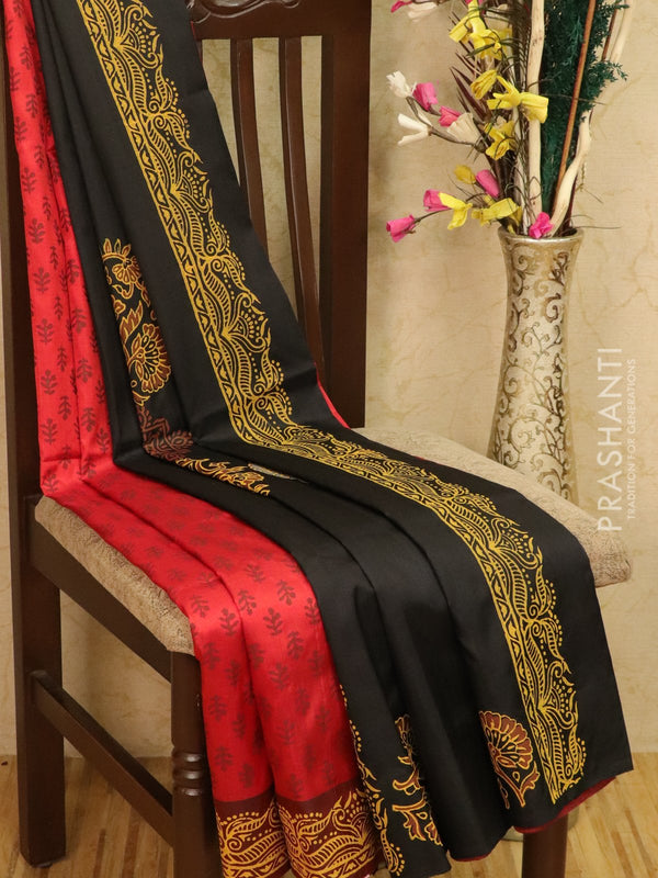 Pure Uppada silk saree kumkum red and black with allover prints in zariless style