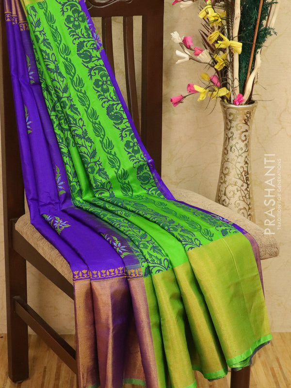 Pure Uppada silk saree violet and green with floral prints and long zari border