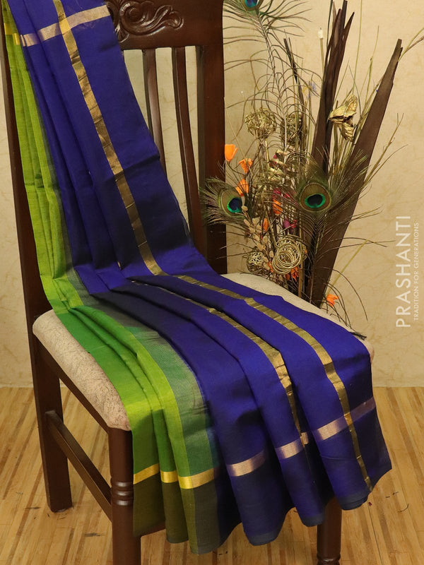Silk cotton saree green and blue with simple zari border