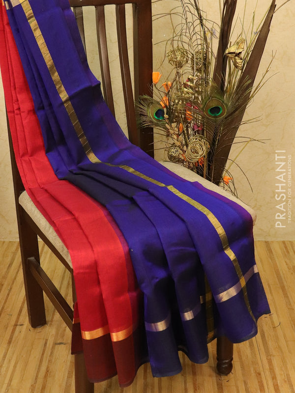 Silk cotton saree maroon and blue with simple zari border