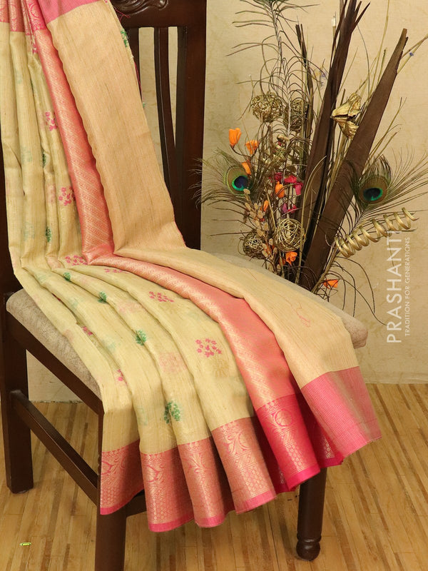 Manipuri tissue kota saree beige and pink with allover weaves and zari border