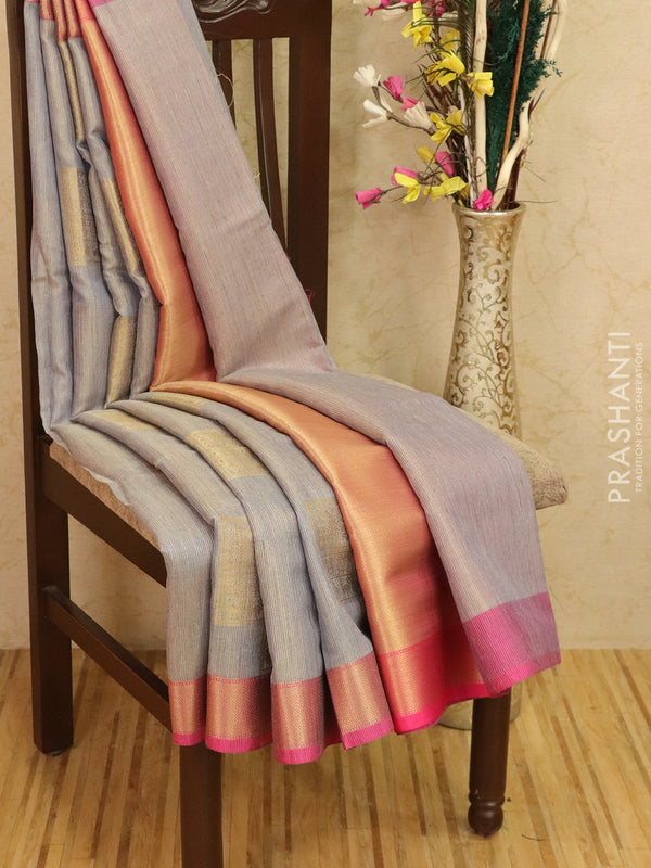 Manipuri tissue kota saree grey and pink with allover weaves and zari border