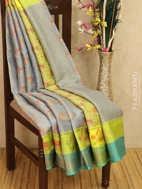 Manipuri tissue kota saree grey and teal with thread and zari buttas with zari border