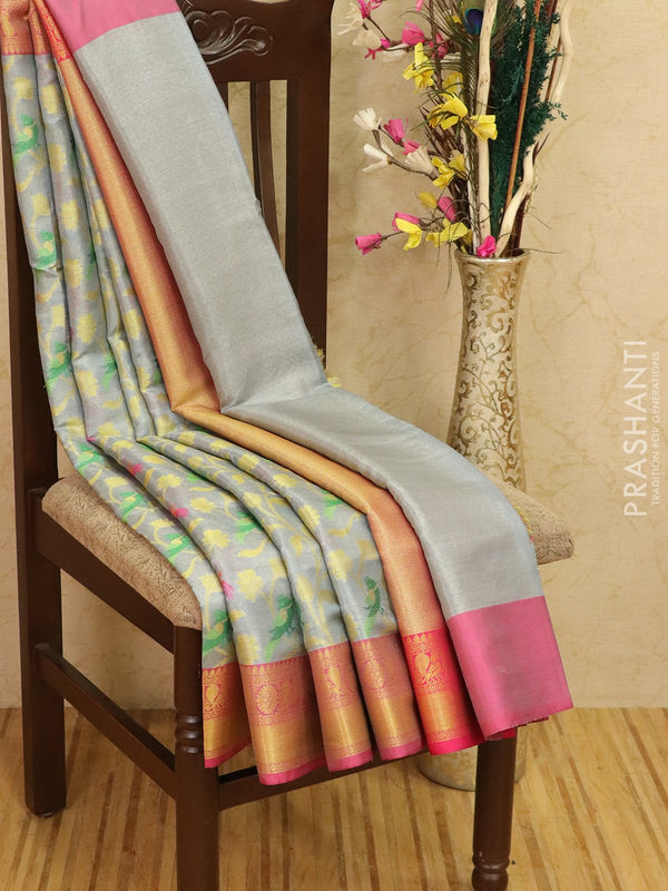 Manipuri tissue kota saree silver grey and pink with allover weaves and zari border