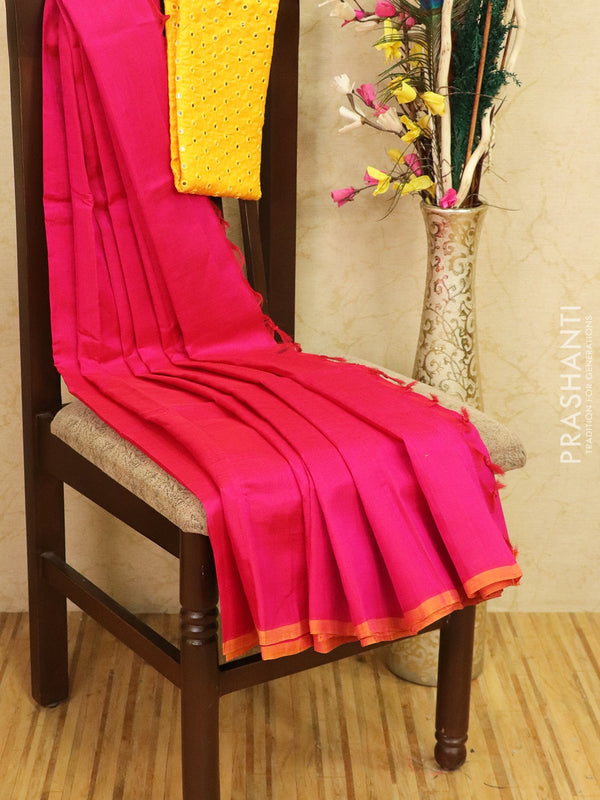 Silk cotton saree pink with pipping border and mirror work blouse