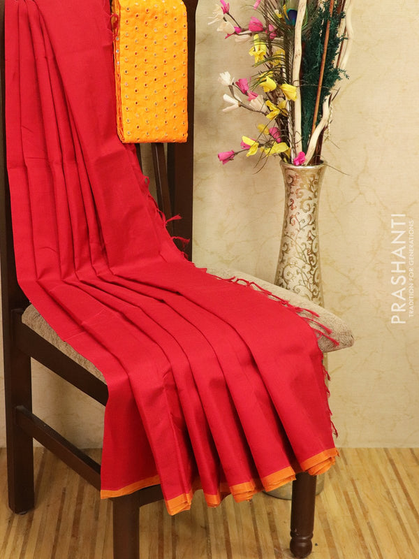 Silk cotton saree red with pipping border and mirror work blouse for Rs.Rs. 2650.00 | by Prashanti Sarees