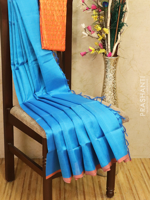 Silk cotton saree cs blue with pipping border and mirror work blouse