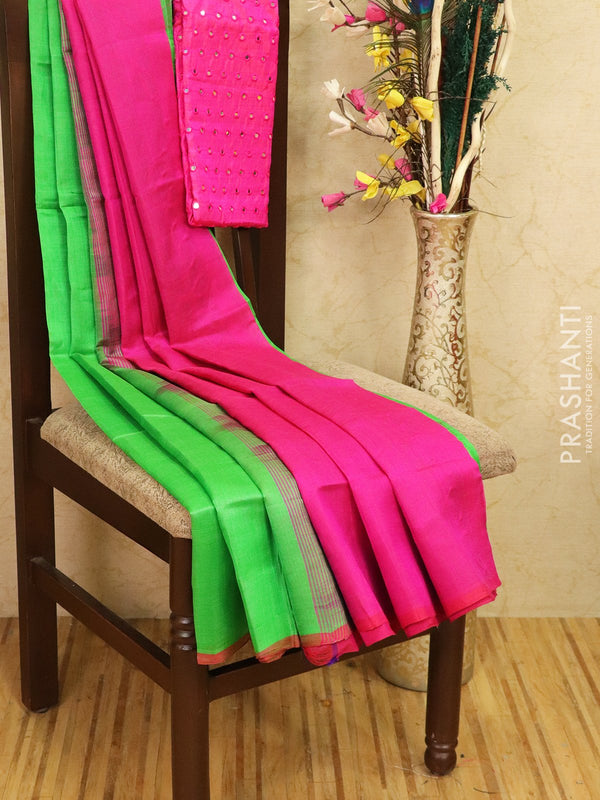 Silk cotton saree green and pink with pipping border and mirror work blouse