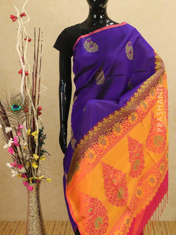 Pure soft silk saree violet and dual shade of pink with allover thread buttas in pipping border