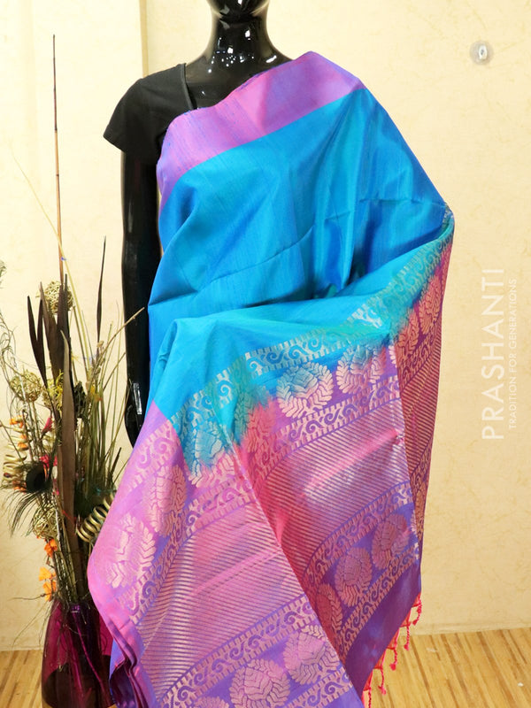 Pure soft silk saree cs blue and dual shade of lavender with zari woven buttas and butta border
