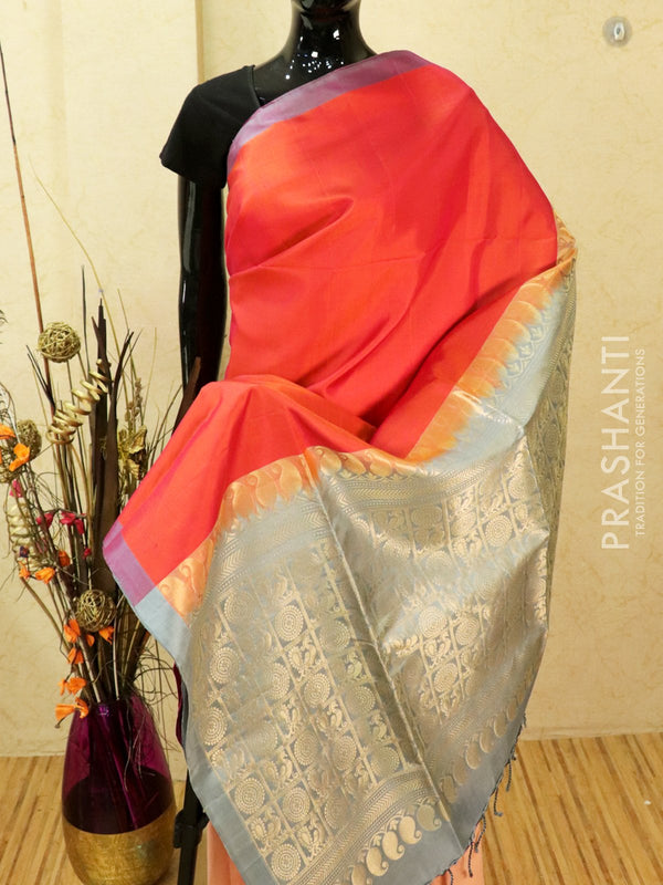 Pure soft silk saree dual shade of orange pink and grey with plain body and rich zari woven pallu in pipping border
