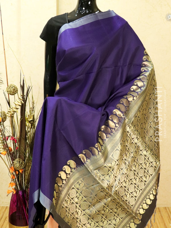 Pure soft silk saree blue and grey with plain body and rich zari woven pallu in pipping border
