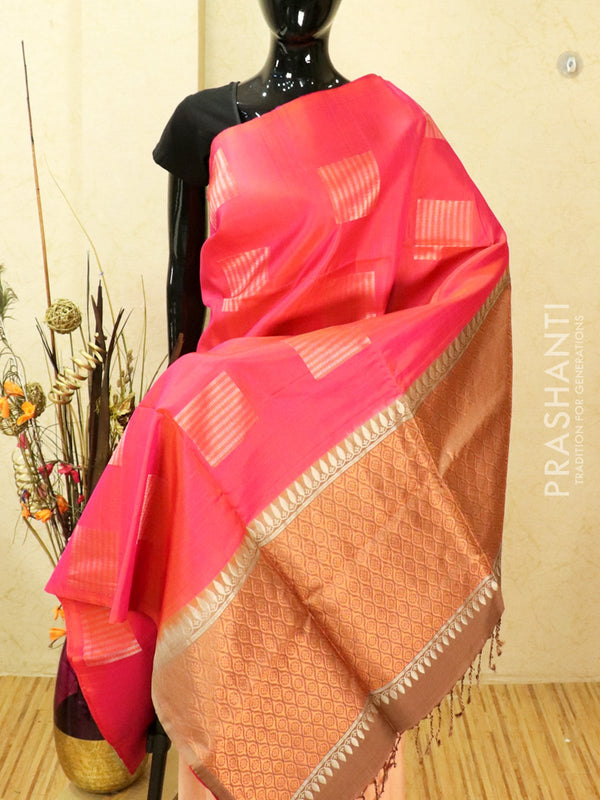 Pure soft silk saree dual shade of orange pink and chikku with zari buttas and antique zari pallu in borderless style