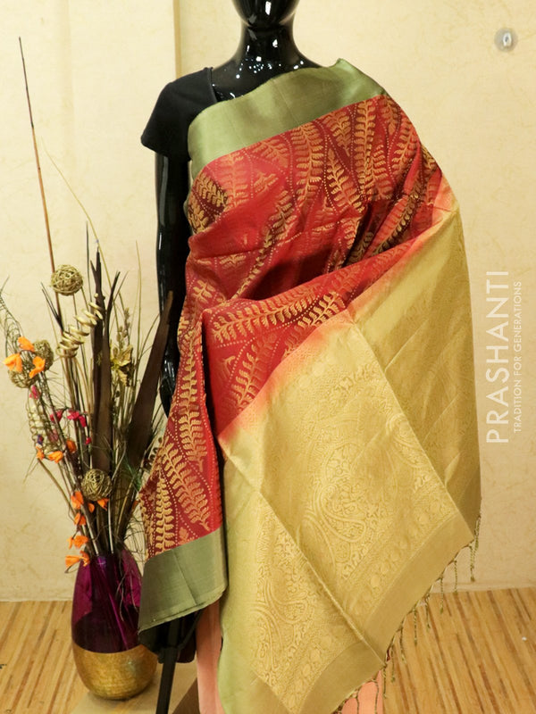 Pure soft silk saree maroon and pastel shade with allover zari weaves and simple border