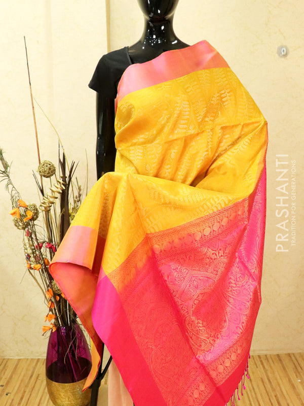 Pure soft silk saree yellow and pink with allover zari weaves and simple border