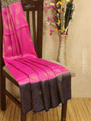 Banarasi semi silk saree pink and blue with allover zari weaves and rich zari border