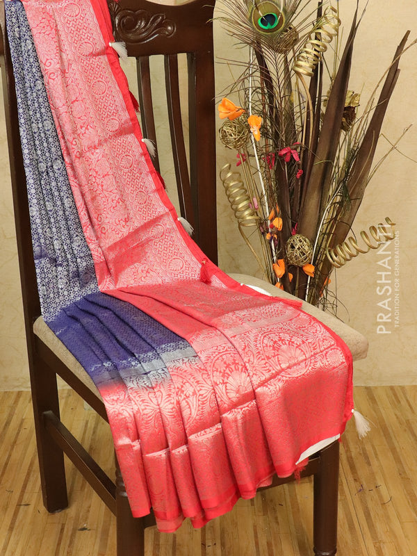 Banarasi semi silk saree blue and red with allover silver zari weaves and rich pallu
