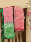Banarasi semi silk saree red and green with allover silver zari weaves and rich pallu