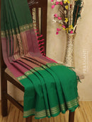 Kanchi cotton sarees dual shade of magenta and green ganga jamuna border with plain body and thread woven border