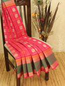Kanchi cotton sarees pink checked pattern and all over buttas with thread woven rettapet border