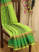 Kanchi cotton sarees green checked pattern and all over buttas with thread woven rettapet border