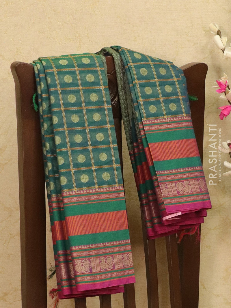 Kanchi cotton sarees peacock green checked pattern and 1000 buttas with thread woven border