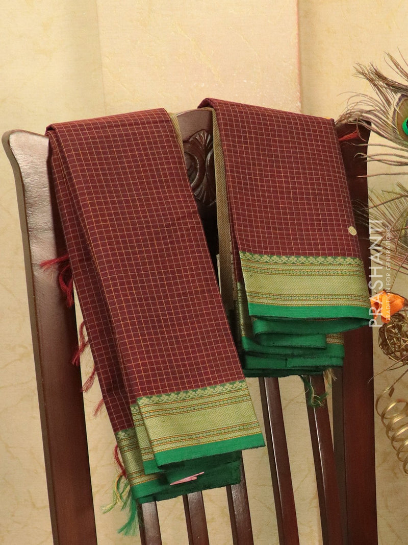 Kanchi cotton sarees coffee brown and green with allover checked pattern and small buttas in thread woven border