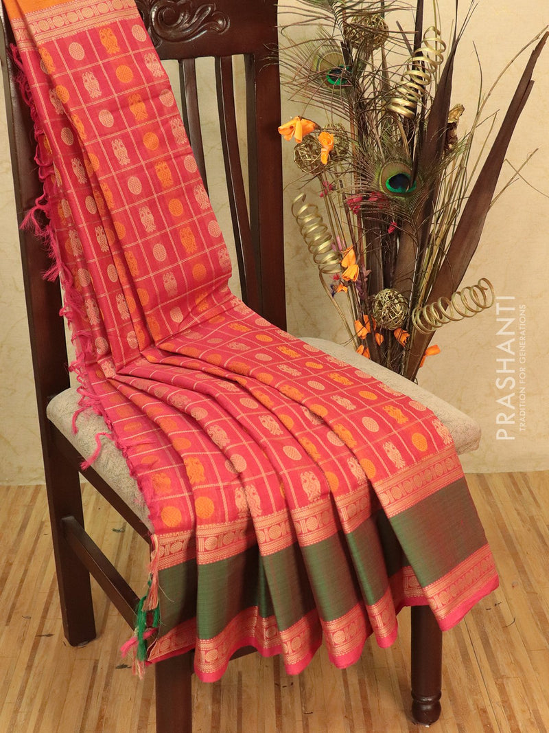 Kanchi cotton sarees tomato pink ganga jamuna border checked pattern and 1000 buttas with rettapet border