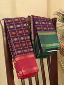 Kanchi cotton sarees purple ganga jamuna border checked pattern and 1000 buttas with rettapet border