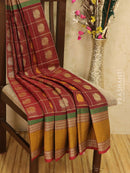 Kanchi cotton sarees maroon with checked pattern and buttas in rettapet border