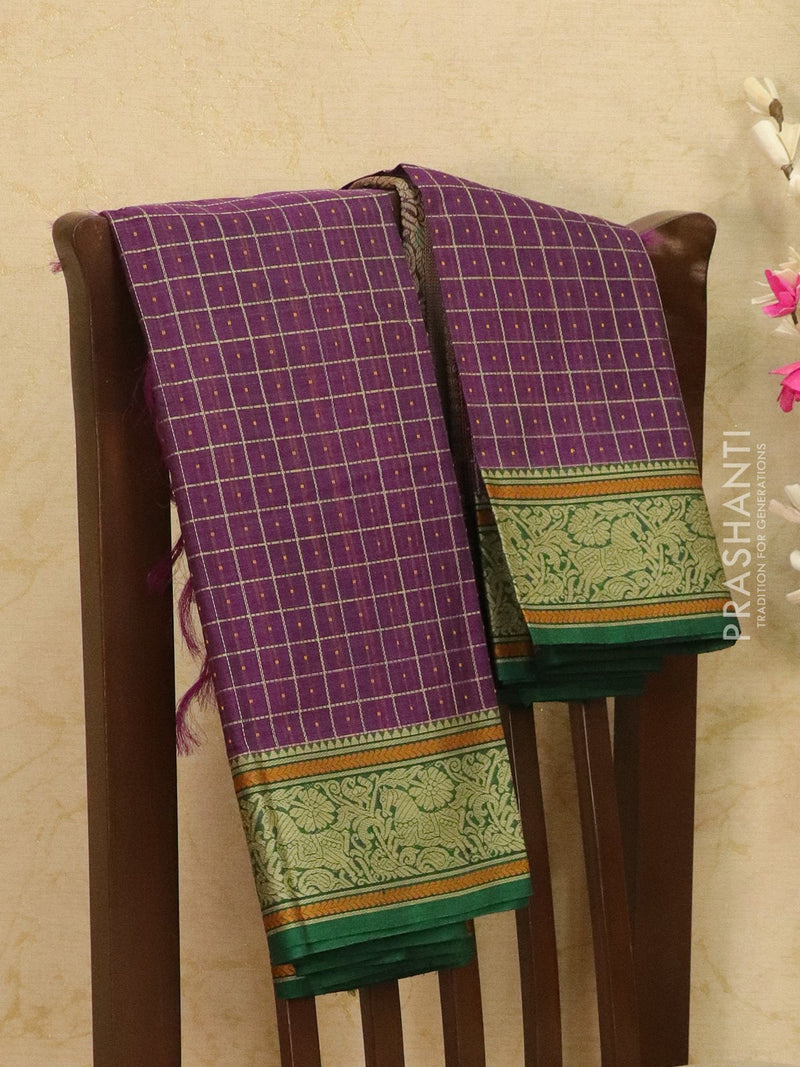 Kanchi cotton sarees purple with allover checked pattern and thread woven border