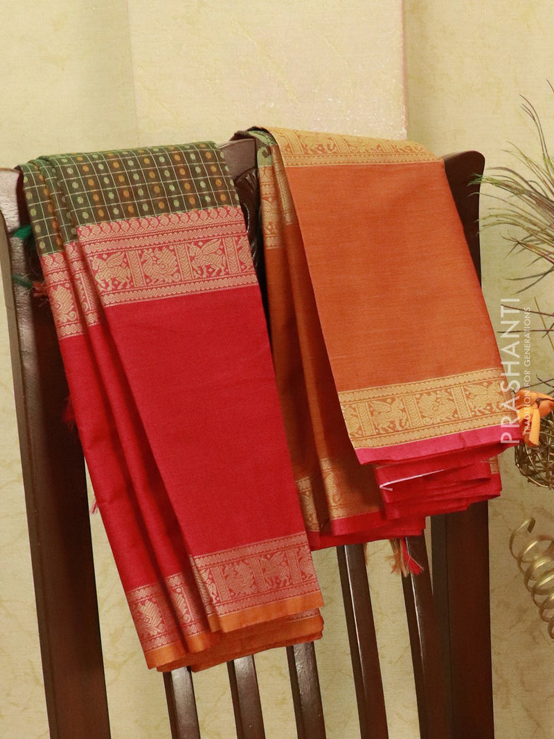 Kanchi cotton sarees mandhulir green ganga jamuna border with all over checks and buttas in rettapet border